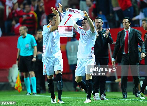 Kevin Gameiro of Sevilla FC celebrates after scoring his team's second goal during the UEFA Europa League Semi Final second leg match between Sevilla...