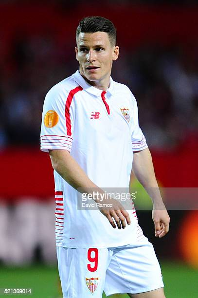 Kevin Gameiro of Sevilla FC looks on during the UEFA Europa League quarter final second leg match between Sevilla and Athletic Bilbao at the Ramon...