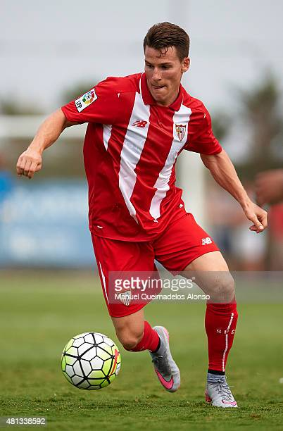 Kevin Gameiro of Sevilla runs with the ball during a Pre Season Friendly match between Sevilla and Alcorcon at Pinatar Arena Stadium on July 19 2015...