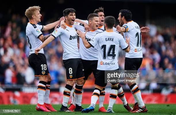 Kevin Gameiro of Valencia CF celebrates scoring his team's goal during the Liga match between Valencia CF and Real Betis Balompie at Estadio Mestalla...