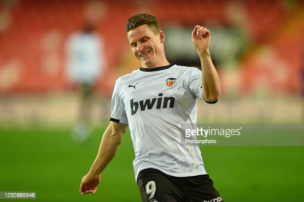 Kevin Gameiro of Valencia CF during the La Liga match between Valencia CF and FC Barcelona played at Mestalla Stadium on May 2, 2021 in Valencia,...