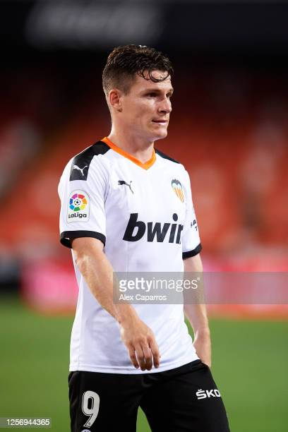 Kevin Gameiro of Valencia CF looks on during the Liga match between Valencia CF and RCD Espanyol at Estadio Mestalla on July 16 2020 in Valencia Spain