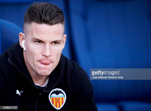 Kevin Gameiro of Valencia CF looks on prior to the start the La Liga match between Real Sociedad and Valencia CF at Estadio Anoeta on February 22...