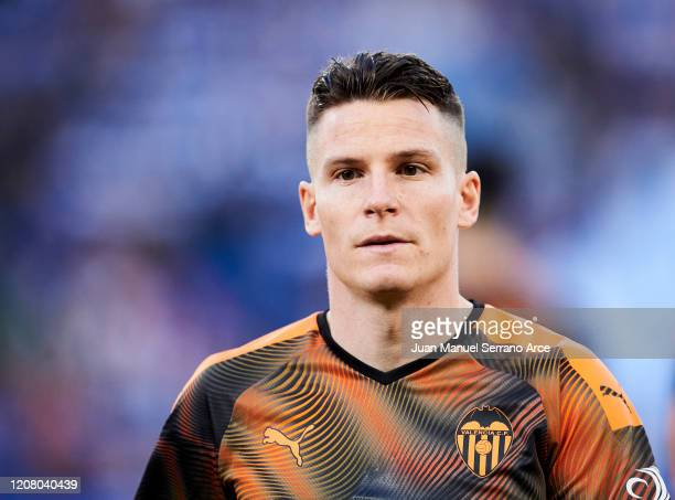 Kevin Gameiro of Valencia CF reacts during the Liga match between Real Sociedad and Valencia CF at Estadio Anoeta on February 22 2020 in San...