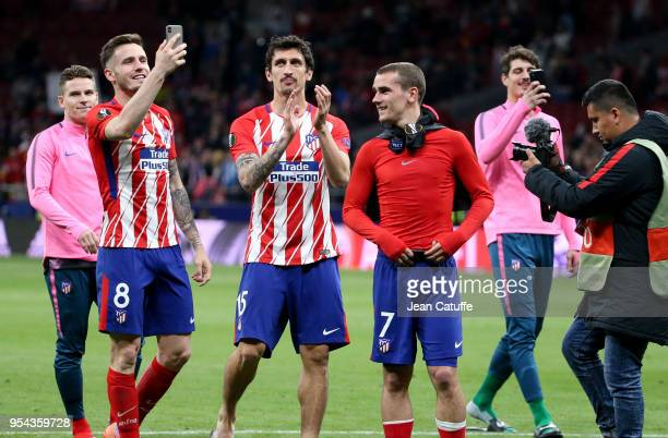 Kevin Gameiro Saul Niguez Stefan Savic Antoine Griezmann of Atletico Madrid celebrate the qualification for the final following the UEFA Europa...