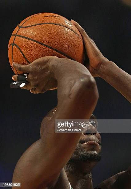 Kevin Garett of the Boston Celtics shoots a freethrow against the Chicago Bulls at the United Center on November 12 2012 in Chicago Illinois The...