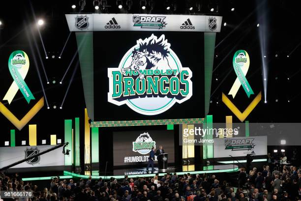 Kevin Garinger president of the Humboldt Broncos speaks onstage after accepting the EJ McGuire Award of Excellence on behalf of his team during the...