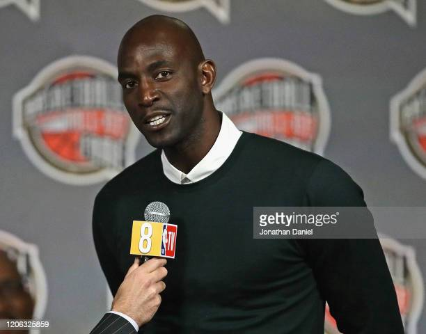 Kevin Garnett, a finalist for the 2020 Naismith Memorial Basketball Hall of Fame, speaks during a ceremony announcing the finalists at the United...