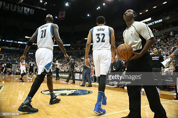 Kevin Garnett and KarlAnthony Towns of the Minnesota Timberwolves during the game against the San Antonio Spurs on December 23 2015 at Target Center...