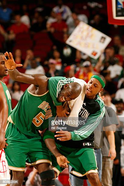 Kevin Garnett and Paul Pierce of the Boston Celtics celebrate after ending the Houston Rockets 22 game winning streak on March 18 2008 at the Toyota...