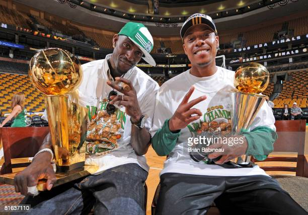 Kevin Garnett and Paul Pierce of the Boston Celtics celebrate before the NBA Championship Parade on June 19 2008 in Boston Massachusetts NOTE TO USER...