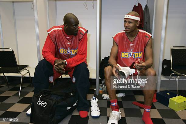 Kevin Garnett and Ray Allen of the West AllStars hang out in the locker room prior to practice at the Denver Convention Center on February 19 2005 in...
