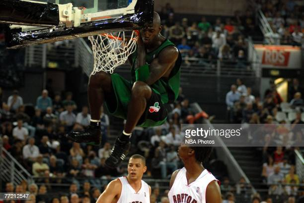 Kevin Garnett dunks during the NBA Preseason game between the Boston Celtics and the Toronto Raptors as part of the 2007 NBA Europe Live Tour on...