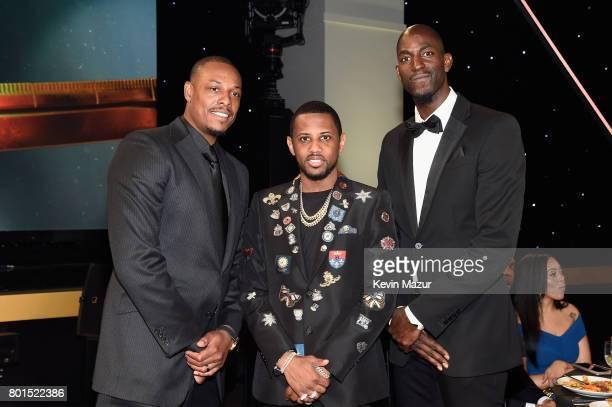 Kevin Garnett Fabolous and Paul Pierce pose during the 2017 NBA Awards Live on TNT on June 26 2017 in New York New York 27111_002