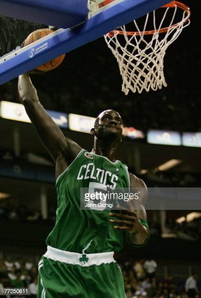 Kevin Garnett of Boston dunks the ball during NBA Europe Live 2007 Tour match between the Boston Celtics and the Minnesota Timberwolves at the O2...