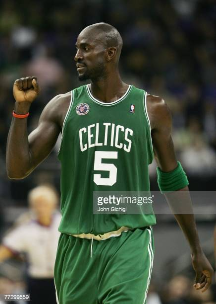 Kevin Garnett of Boston reacts during NBA Europe Live 2007 Tour match between the Boston Celtics and the Minnesota Timberwolves at the O2 Arena on...