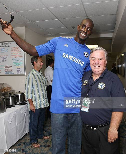 Kevin Garnett of the Boston Celtics and Don Sheppard of LAFC Chelsea attend Chelsea FC and InterMilan soccer match benefitting LAFC Chelsea and...