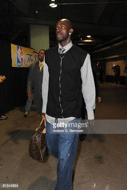 Kevin Garnett of the Boston Celtics arrives at the arena before taking on the Los Angeles Lakers in Game Four of the 2008 NBA Finals at Staples...