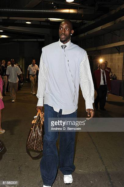 Kevin Garnett of the Boston Celtics arrives at the arena before taking on the Los Angeles Lakers in Game Five of the 2008 NBA Finals at Staples...