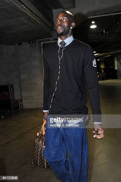 Kevin Garnett of the Boston Celtics arrives at the arena before taking on the Los Angeles Lakers at Staples Center on December 25 2008 in Los Angeles...