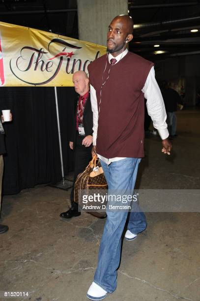 Kevin Garnett of the Boston Celtics arrives at the arena prior to taking on the Los Angeles Lakers in Game Three of the 2008 NBA Finals at Staples...