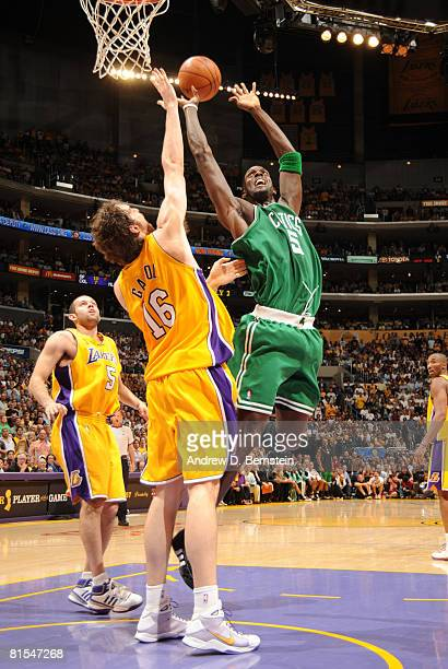 Kevin Garnett of the Boston Celtics attempts a shot against the defense of Pau Gasol of the Los Angeles Lakers in Game Four of the 2008 NBA Finals at...