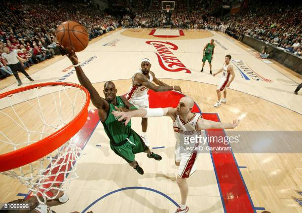 Kevin Garnett of the Boston Celtics attempts a shot against Zydrunas Ilgauskas of the Cleveland Cavaliers in Game Four of the 2008 NBA Eastern...