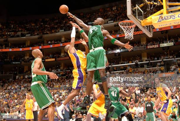 Kevin Garnett of the Boston Celtics blocks the shot of Kobe Bryant of the Los Angeles Lakers in Game Four of the 2008 NBA Finals at Staples Center...