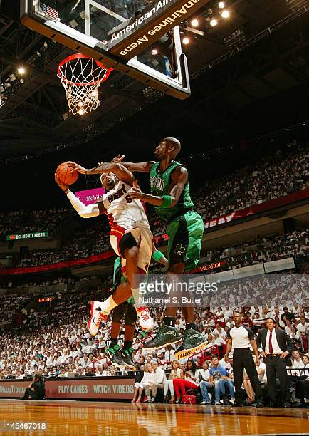 Kevin Garnett of the Boston Celtics blocks the shot of LeBron James of the Miami Heat in Game Two of the Eastern Conference Finals during the 2012...