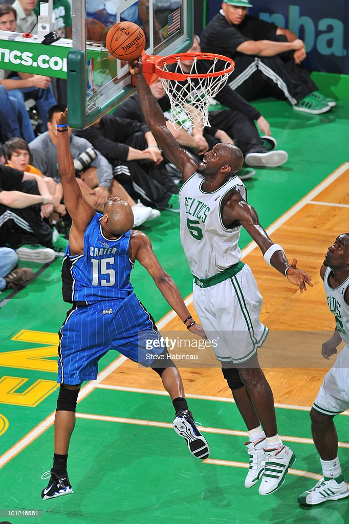 Kevin Garnett #5 of the Boston Celtics blocks the shot of Vince Carter #15 of the Orlando Magic in Game Six of the Eastern Conference Finals during the 2010 NBA Playoffs at TD Garden on May 28, 2010 in Boston, Massachusetts.