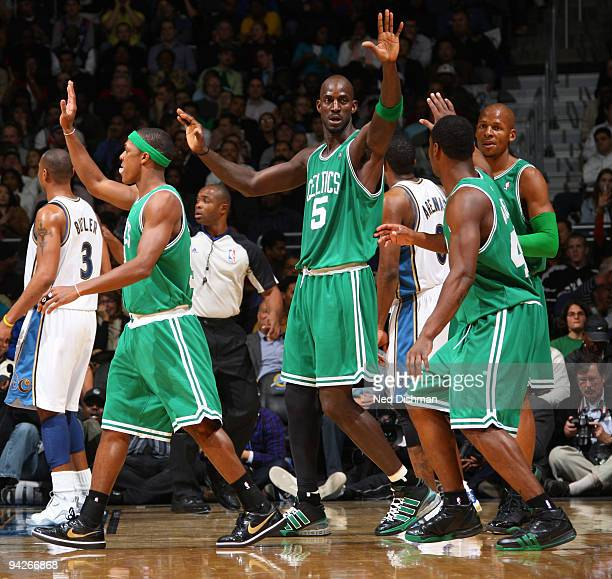 Kevin Garnett of the Boston Celtics celebrates a made basket against the Washington WIzards at the Verizon Center on December 10 2009 in Washington...