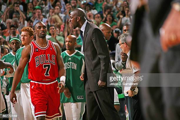 Kevin Garnett of the Boston Celtics celebrates against Ben Gordon of the Chicago Bulls in Game Five of the Eastern Conference Quarterfinals during...
