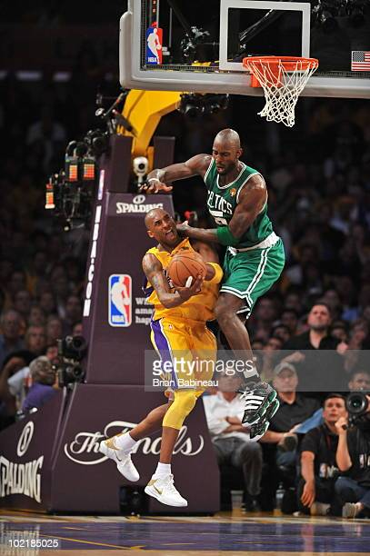 Kevin Garnett of the Boston Celtics defends against Kobe Bryant of the Los Angeles Lakers in Game Seven of the 2010 NBA Finals on June 17 2010 at...
