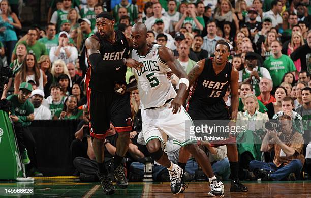 Kevin Garnett of the Boston Celtics defends against LeBron James of the Miami Heat in Game Three of the Eastern Conference Finals during the 2012 NBA...