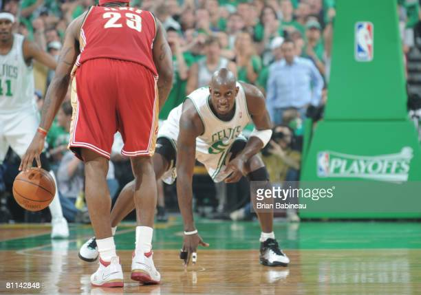 Kevin Garnett of the Boston Celtics defends Lebron James of the Cleveland Cavaliers in Game Seven of the Eastern Conference Semifinals during the...