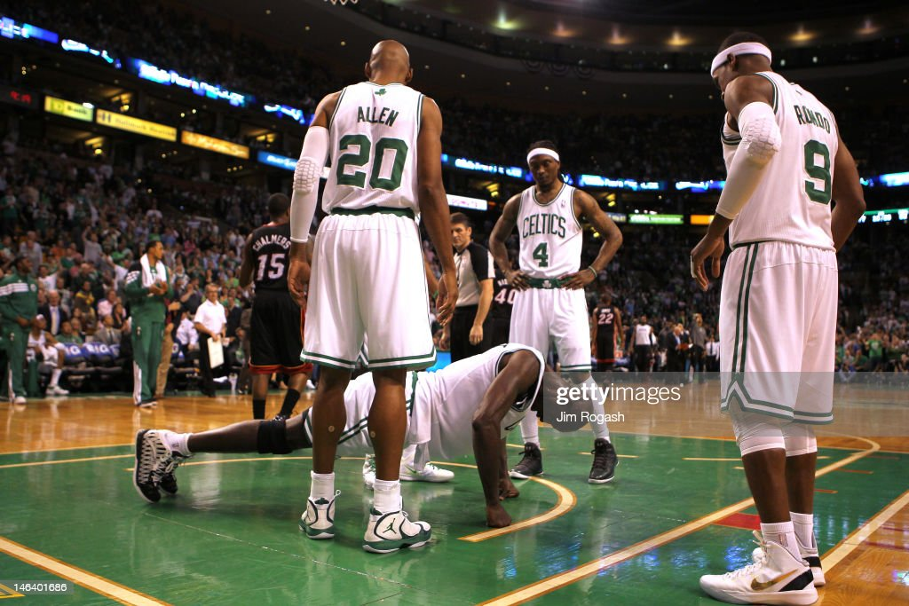 Kevin Garnett #5 of the Boston Celtics does push ups in the first half against the Miami Heat in Game Three of the Eastern Conference Finals in the 2012 NBA Playoffs on June 1, 2012 at TD Garden in Boston, Massachusetts.