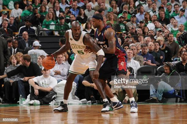 Kevin Garnett of the Boston Celtics drives the ball against LeBron James of the Cleveland Cavaliers during the game on October 28 2008 at the TD...
