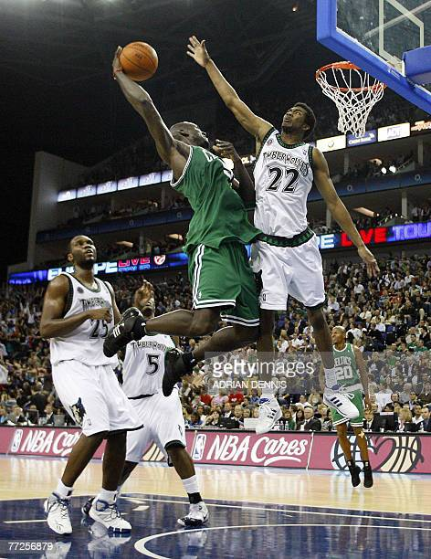 Kevin Garnett of The Boston Celtics drives to the hoop as the Minnesota Timberwolves' Corey Brewer tries to block during their NBA Europe Live 2007...