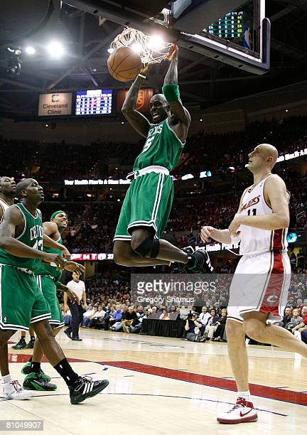 Kevin Garnett of the Boston Celtics dunks against the Cleveland Cavaliers in Game Three of the 2008 NBA Eastern Conference Semifinals on May 10, 2008...