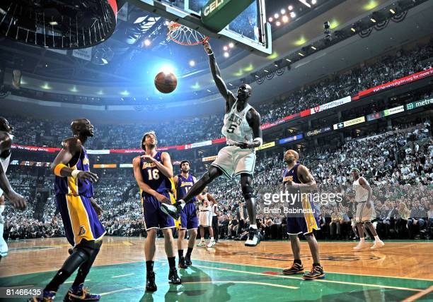 Kevin Garnett of the Boston Celtics dunks against the Los Angeles Lakers during Game One of the NBA Finals at TD Banknorth Garden on June 5, 2008 in...