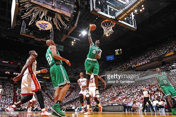 Kevin Garnett of the Boston Celtics dunks against the Miami Heat in Game One of the Eastern Conference Semifinals in the 2011 NBA Playoffs on May 1,...