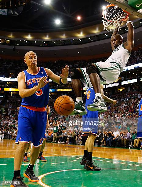 Kevin Garnett of the Boston Celtics dunks the ball in front of Jason Kidd of the New York Knicks during Game Four of the Eastern Conference...