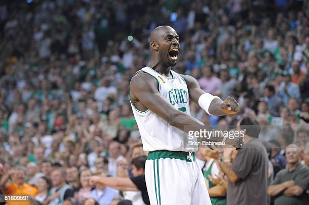 Kevin Garnett of the Boston Celtics gets ready before the game against the Los Angeles Lakers during Game Six of the NBA Finals at the TD Banknorth...