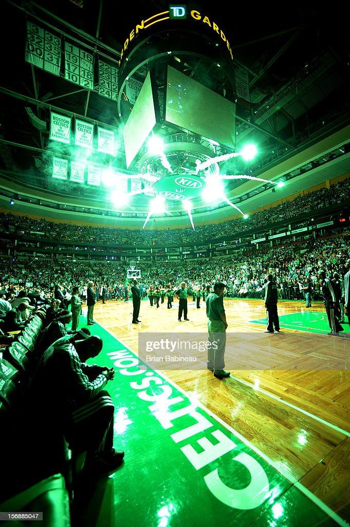 Kevin Garnett #5 of the Boston Celtics gets ready to be announced before the game against the Oklahoma City Thunder on November 23, 2012 at the TD Garden in Boston, Massachusetts.