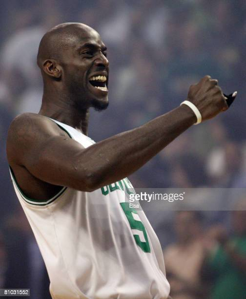 Kevin Garnett of the Boston Celtics gets the crowd going before tipoff against the Cleveland Cavaliers during Game Two of the Eastern Conference...