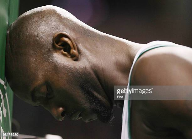 Kevin Garnett of the Boston Celtics goes through his pregame ritual before the opening tipoff against the Oklahoma City Thunder on March 31 2010 at...