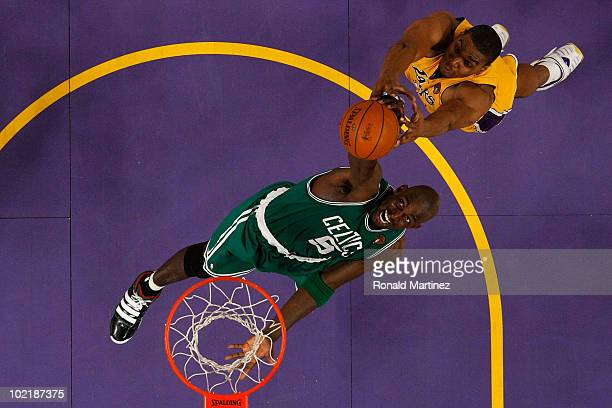 Kevin Garnett of the Boston Celtics goes up for the ball in front of Andrew Bynum of the Los Angeles Lakers in Game Seven of the 2010 NBA Finals at...