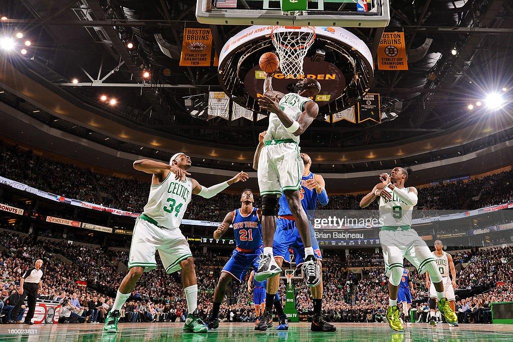 Kevin Garnett #5 of the Boston Celtics grabs a rebound against the New York Knicks on January 24, 2013 at the TD Garden in Boston, Massachusetts.