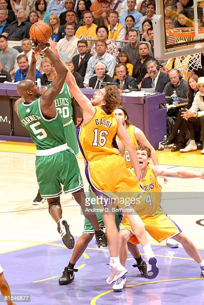 Kevin Garnett of the Boston Celtics has his shot contested by Pau Gasol of the Los Angeles Lakers in Game Four of the 2008 NBA Finals at Staples...