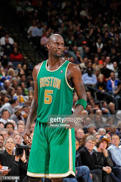 Kevin Garnett of the Boston Celtics in a game against the Golden State Warriors on March 14 2012 at Oracle Arena in Oakland California NOTE TO USER...